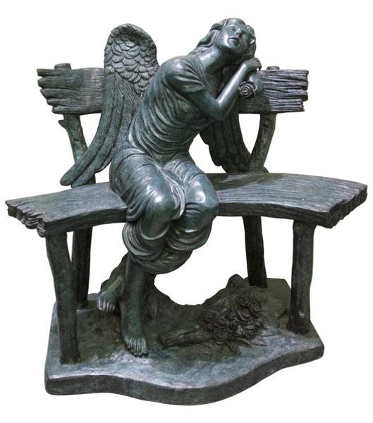 Bronze Angel on Bench - AF 50652