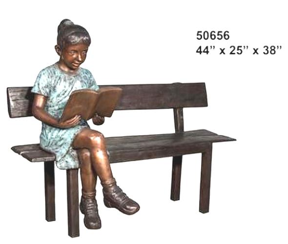 Bronze Child on Bench Reading - AF 50656