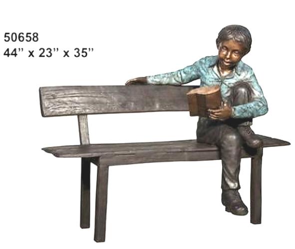 Bronze Child on Bench Reading - AF 50658