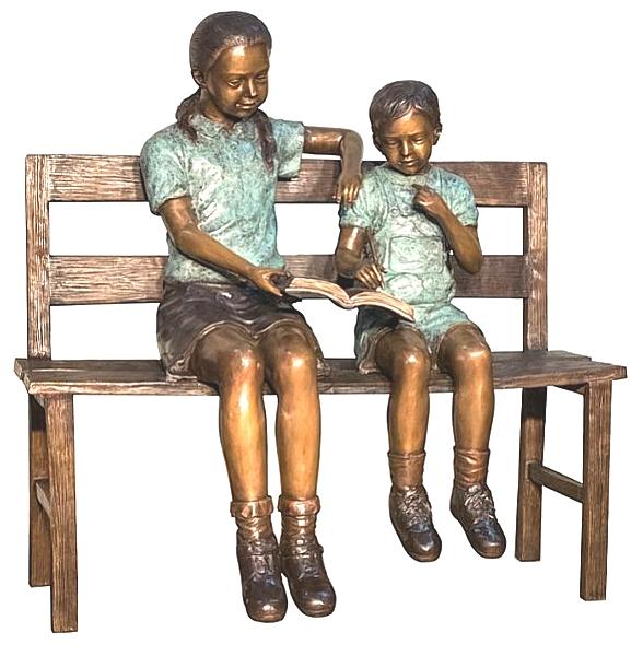 Bronze Children Bench Reading - AF 52079