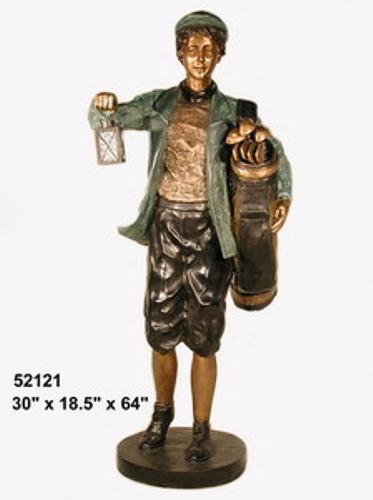Bronze Caddy with Working Lantern Statue - AF 52121