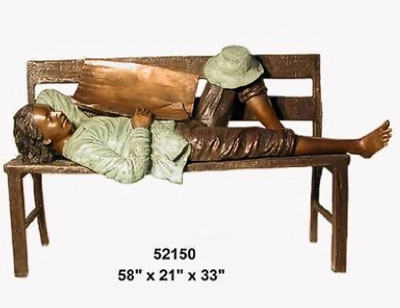Bronze Child on Bench Reading - AF 52150