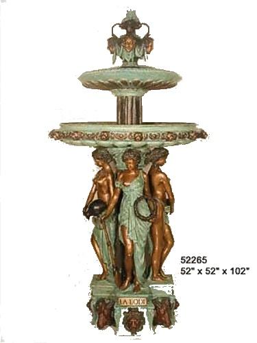 Bronze Four Season Ladies Lion Fountain - AF 52265