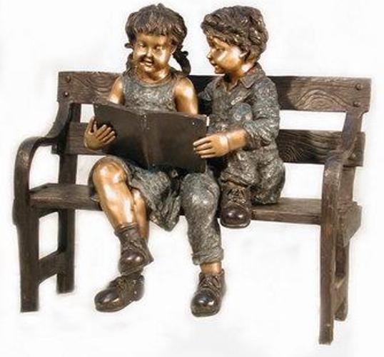 Bronze Children Bench Reading - AF 52400