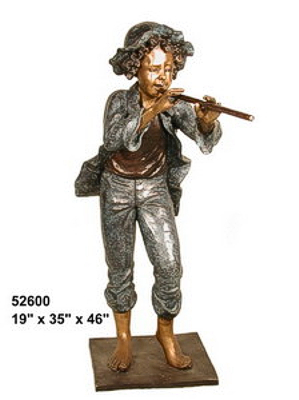 Bronze Boy Playing Flute Statues - AF 52600
