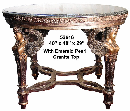 Bronze Sphinx Leg Table w/Granite Top - AF 52616