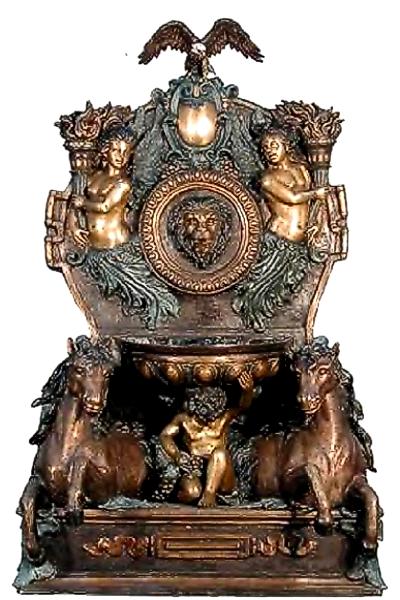 Bronze Horse, Lion & Eagle Fountain - AF 52626