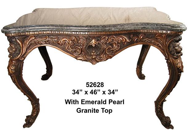 Bronze Lions Head Table w/Granite Top - AF 52628