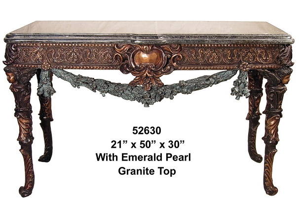 Bronze Table with Granite Top - AF 52630