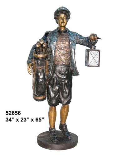 Bronze Caddy with Working Lantern Statue - AF 52656