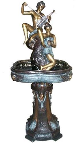 Bronze Man & Woman Violin Fountain - AF 52694