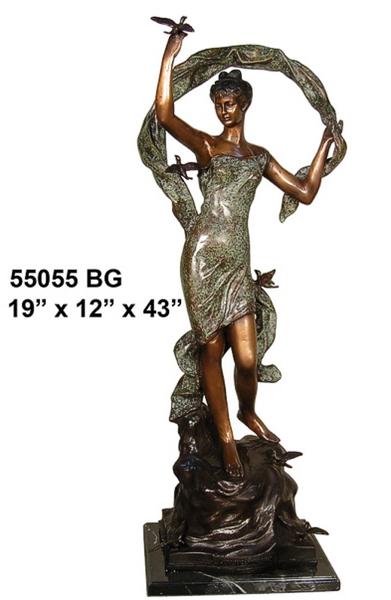Bronze Lady with Bird Statue - AF 55055BG