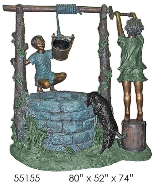 Bronze Kids Wishing Well Fountain - AF 55155