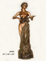 Bronze Lady with Mandolin Statues - AF 55195