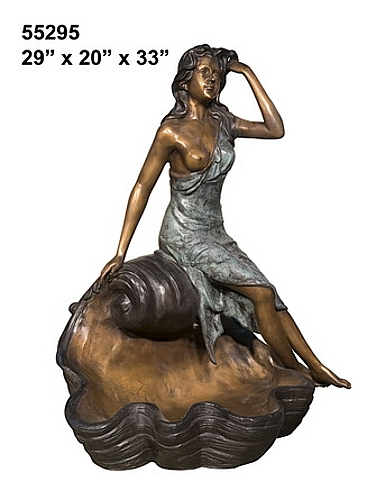 Bronze Lady sitting on shell Fountain - AF 55295