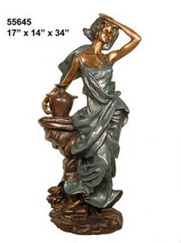 Bronze Lady with Urn Statues - AF 55645