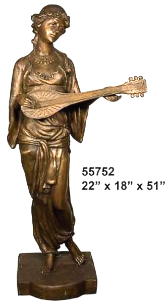 Bronze Lady Playing Mandolin Statue - AF 55752