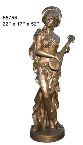 Bronze Lady Playing Mandolin Statue - AF 55756