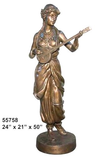 Bronze Lady Playing Mandolin Statue - AF 55758