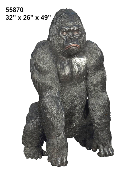 Bronze Silverback Gorilla Statue - AF 55870