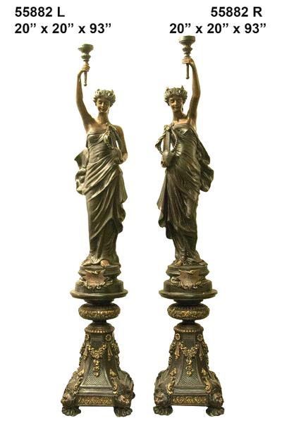 Bronze Ladies Torchier Lamps - AF 55882