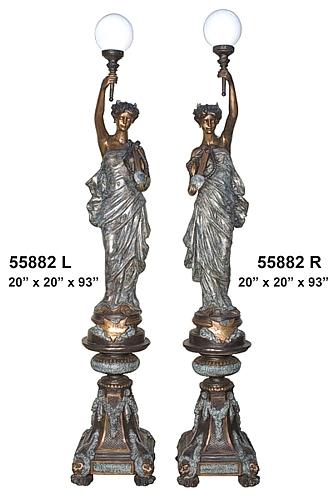 Bronze Ladies Torchieres Lamps - AF 55882BG