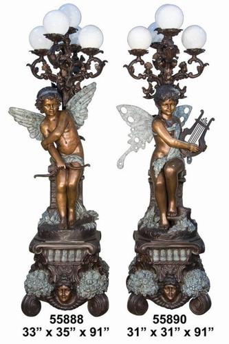 Bronze Angel Torchiere Lamps - AF 55888BG
