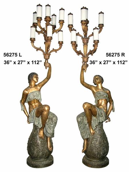 Bronze Ladies Torchieres - AF 56275