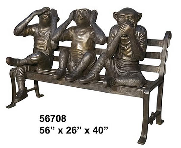 Bronze Monkey Bench - AF 56708