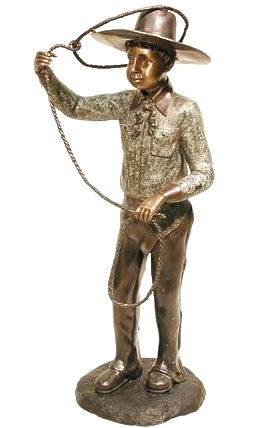 Bronze Cowboy Lasso Roping Statue - AF 57110