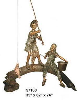 Bronze Kids Tree Log Statue - AF 57160