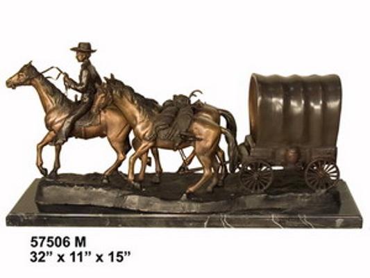 Bronze Cowboy & Wagon Statue - AF 57506M