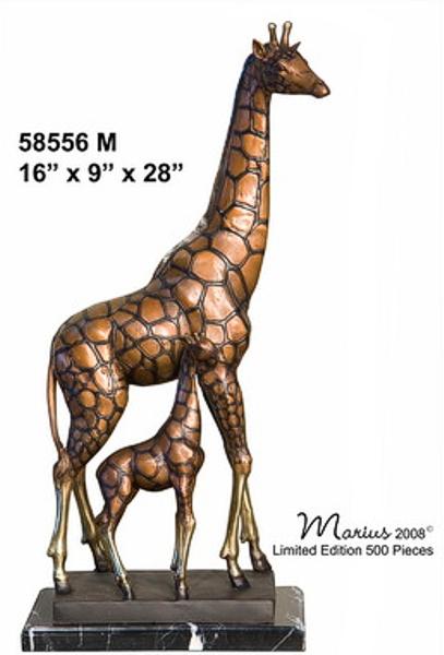 Bronze Giraffe, Calf Statues - AF 58556M_J