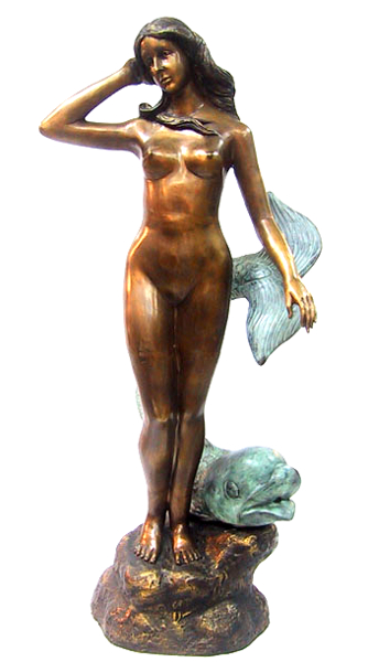 Bronze Nude & Fish Fountain - DD 6008