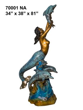 Bronze Mermaid Fountains   Bronze Mermaid Statues - AF 70001NA