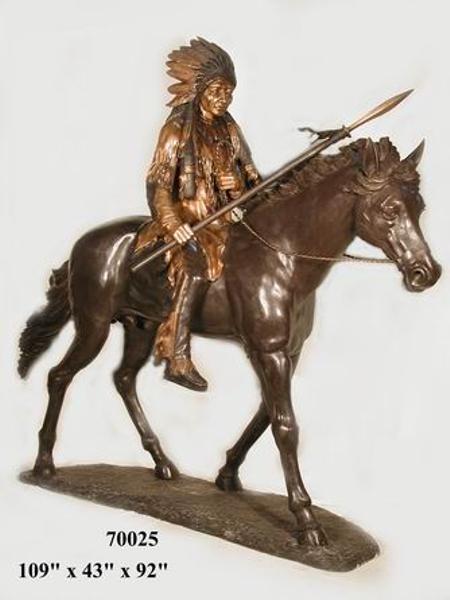 Bronze Indian on Horse Statue - AF 70025