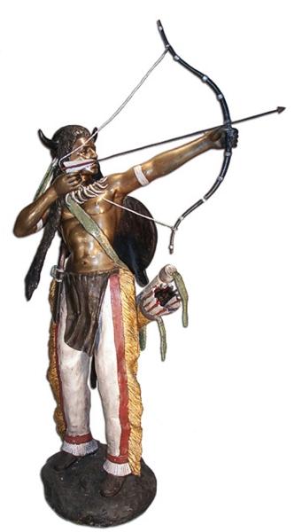 Bronze Indian Warrior & Bow Statue - AF 70079
