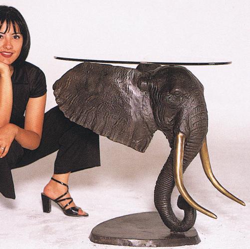 Bronze Elephant Head Table Base - ASB 725