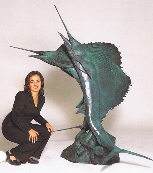 Bronze Swordfish Fountain - ASB 733