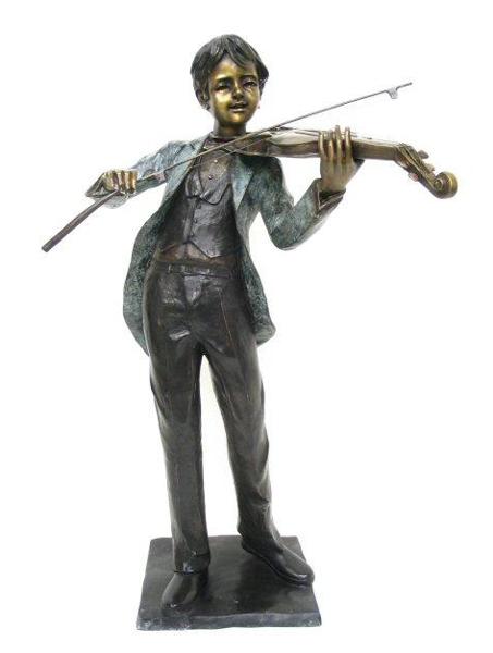 Bronze Boy Playing Violin Statue - AF 74055