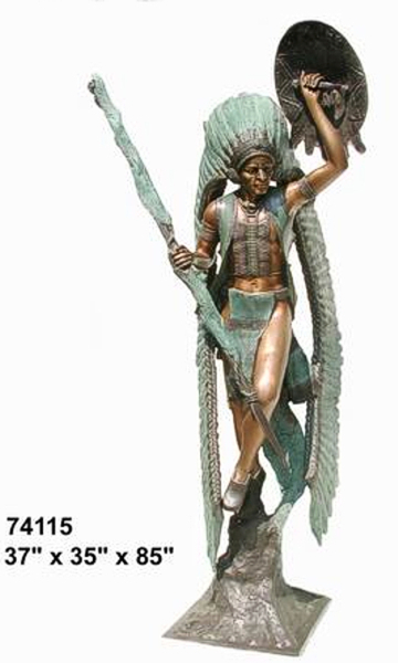 Bronze Indian with Spear & Shield Statue - AF 74115