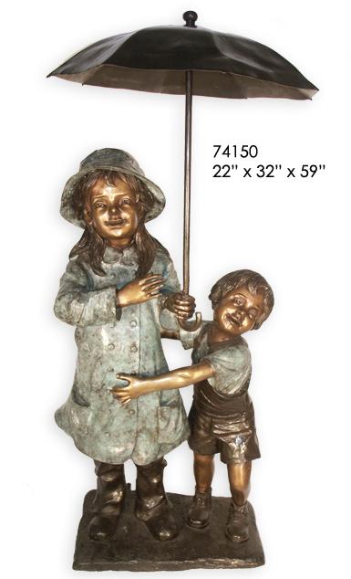 Bronze Kids Umbrella Fountain - AF 74150