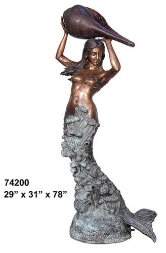 Bronze Mermaid Fountains   Bronze Mermaid Statues - AF 74200