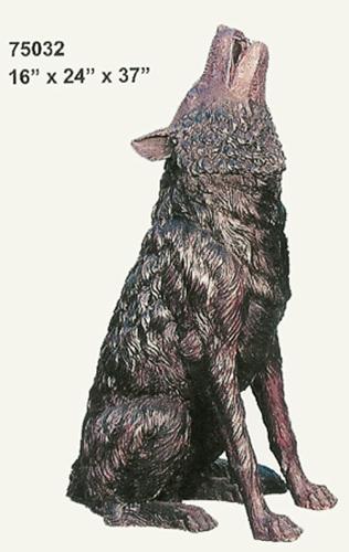 Bronze Howling Wolf Statue - AF 75032