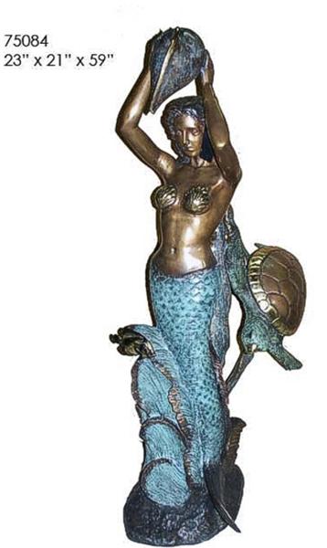 Bronze Mermaid & Turtle Fountain - AF 75084