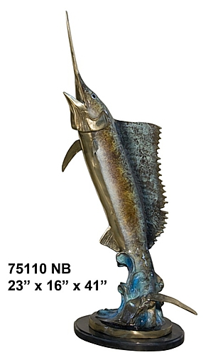 Bronze Sailfish Sculpture Statue - AF 75110NB