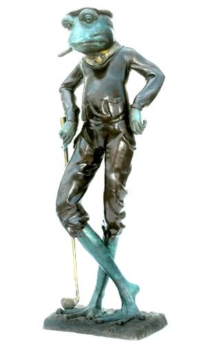Bronze Frog Golfer Statue - ASB 824