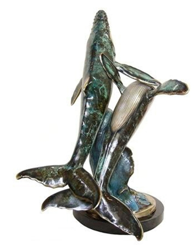 Bronze Humpback Whale and Calf Statue - AF 89053NB