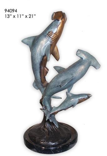 Bronze Hammerhead Shark Statue - AF 94094