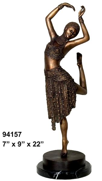 Bronze Dancing Lady Statue - AF 94157